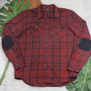 Oakley Button Down Plaid Shirt Elbow Patch Large